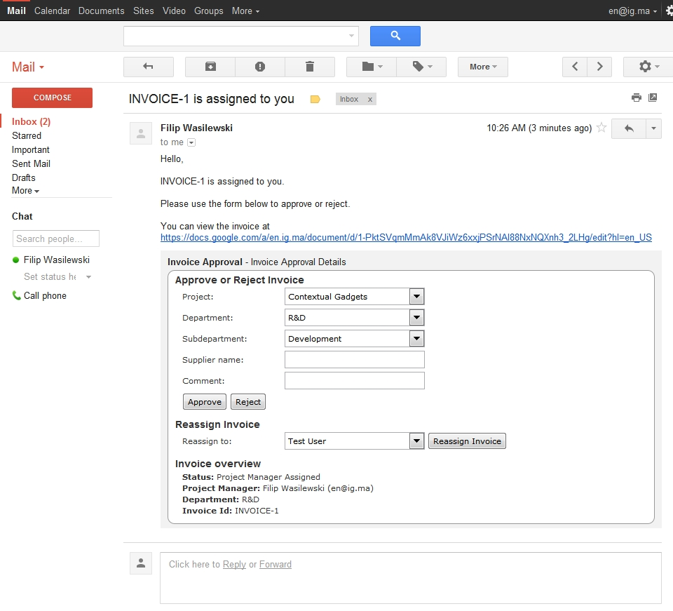 Google Apps Invoices