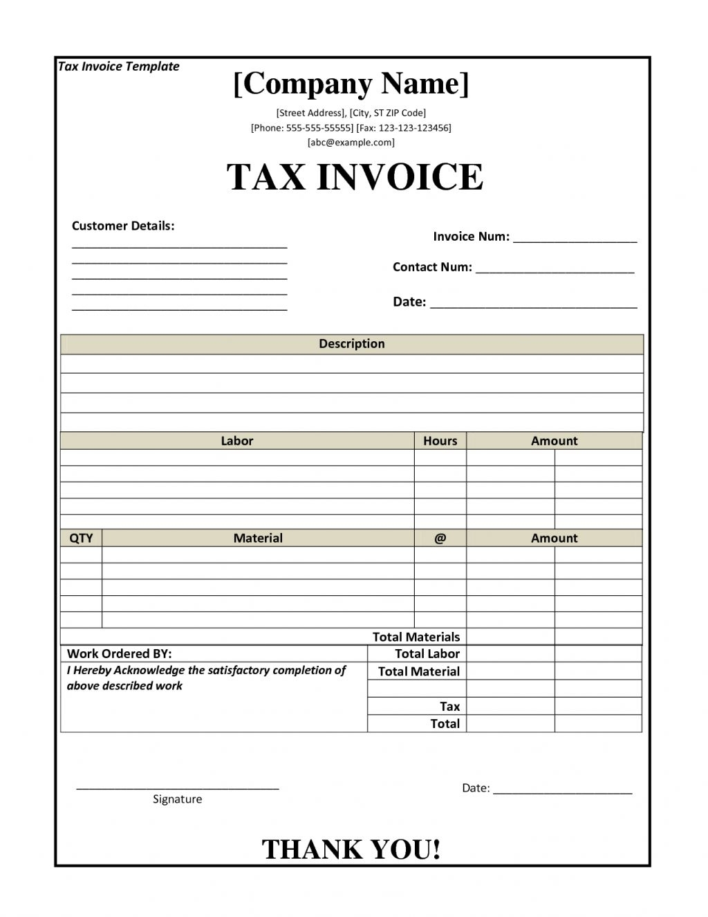 service tax invoice format residers tax invoice sample template