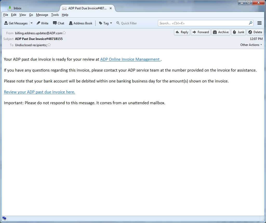 adp past due invoice spam is after your bank login featured invoice email message