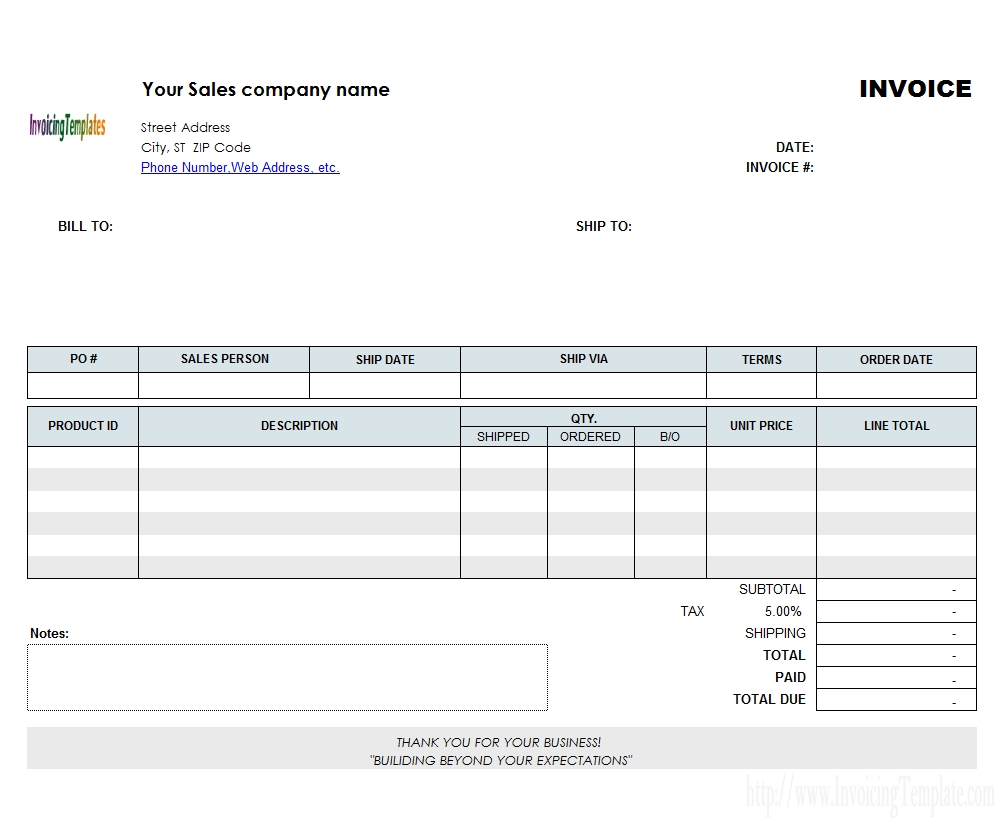 backorder invoice template order invoice template