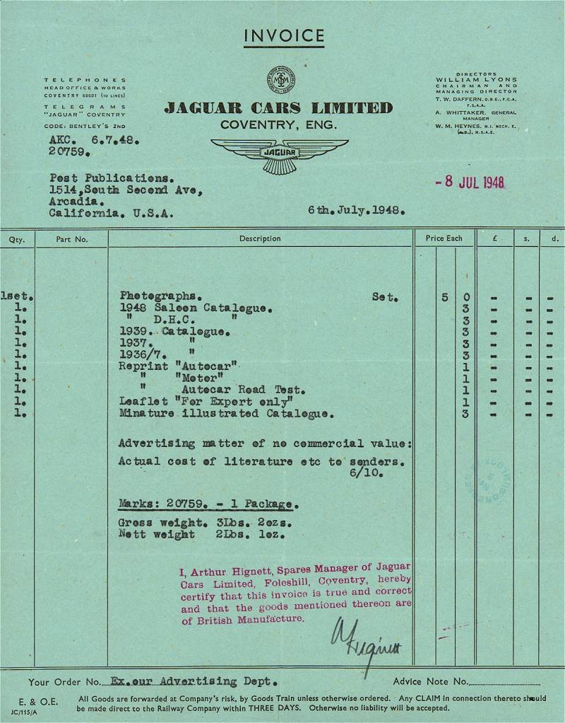 car club invoice jag lovers brochures an jaguar cars memorabilia page 800 X 1022