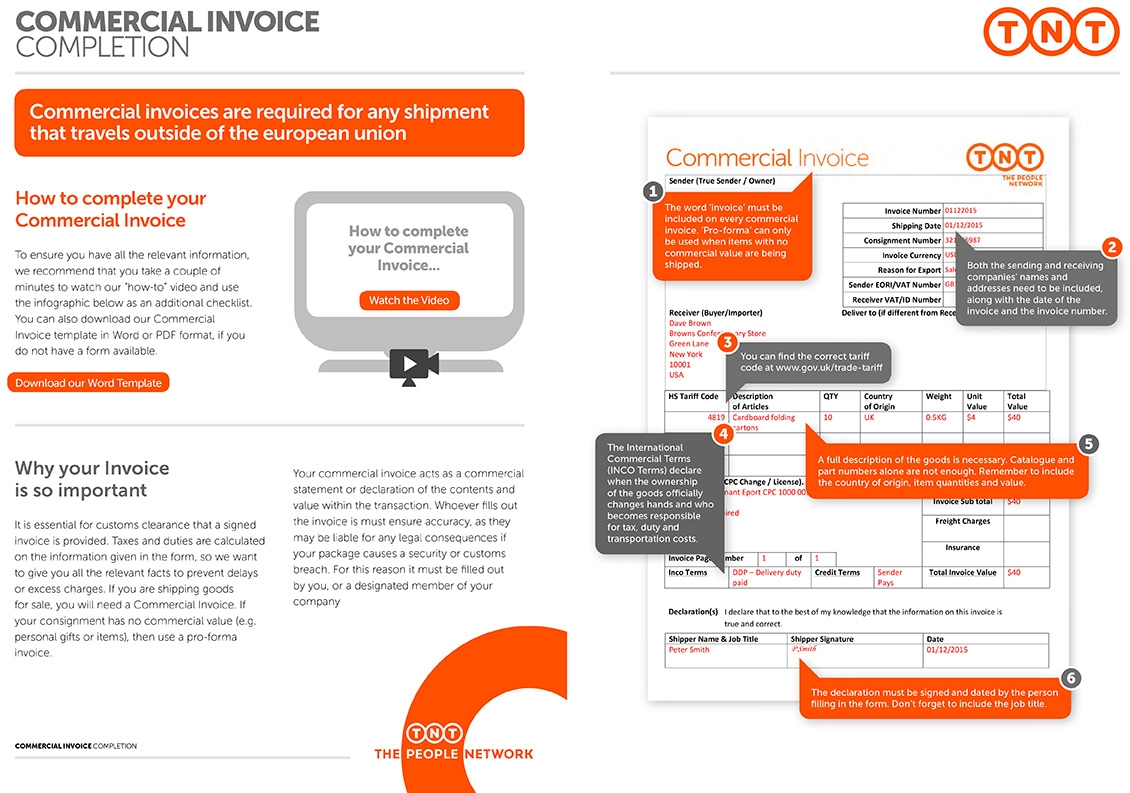 completing commercial invoices customs requirements tnt direct commercial invoice instructions