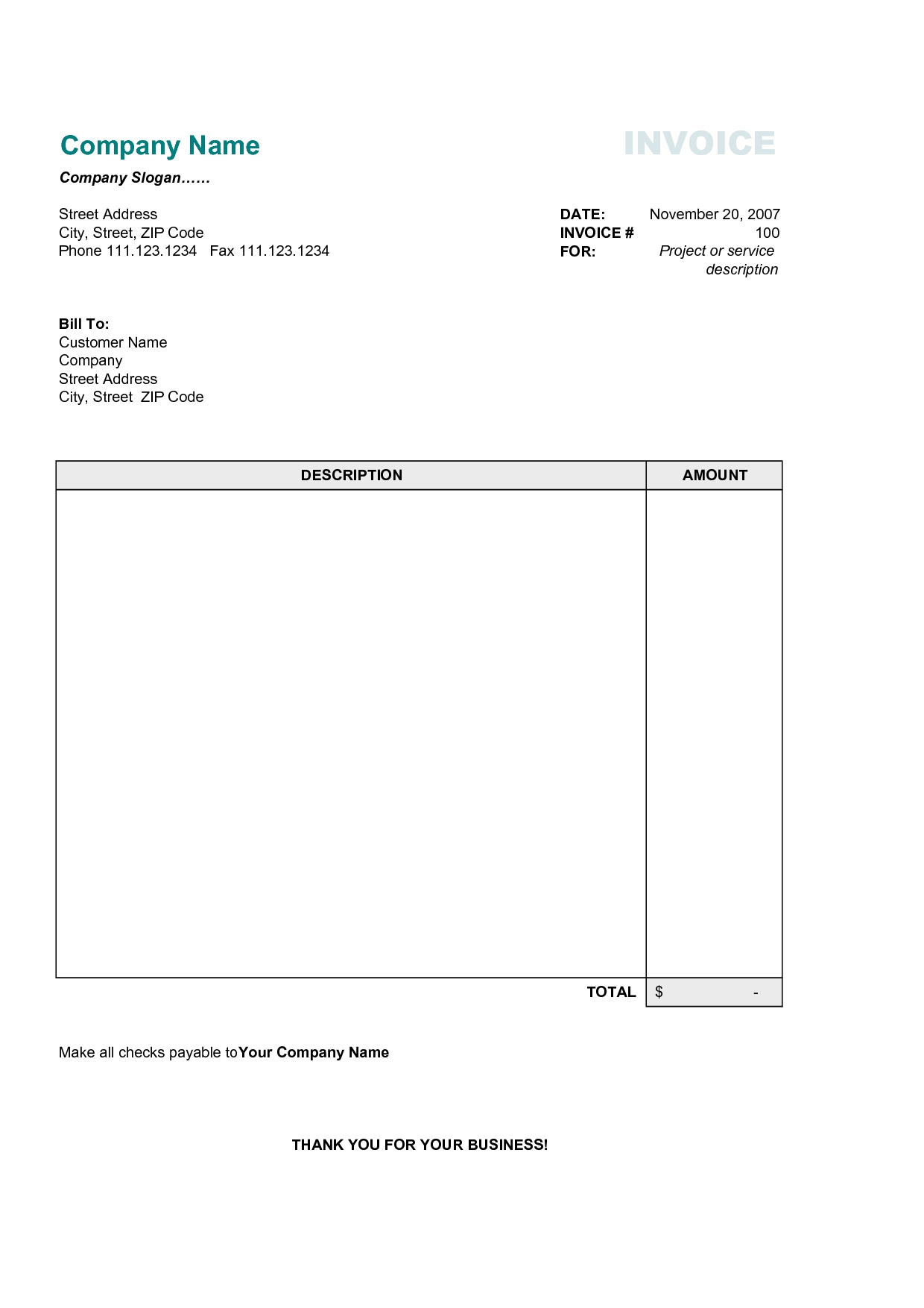 Free Business Invoice Templates Word