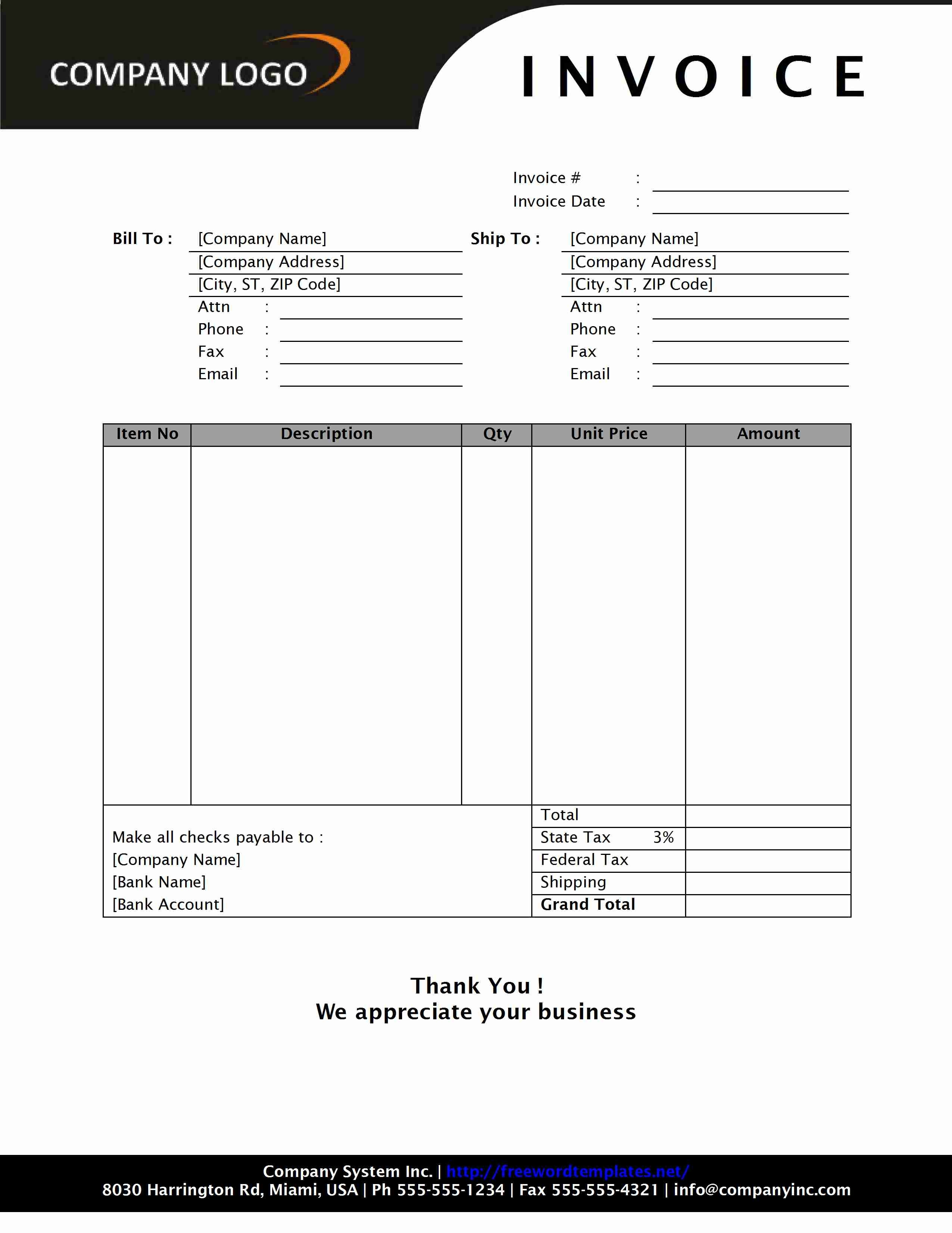 Format Of Invoice