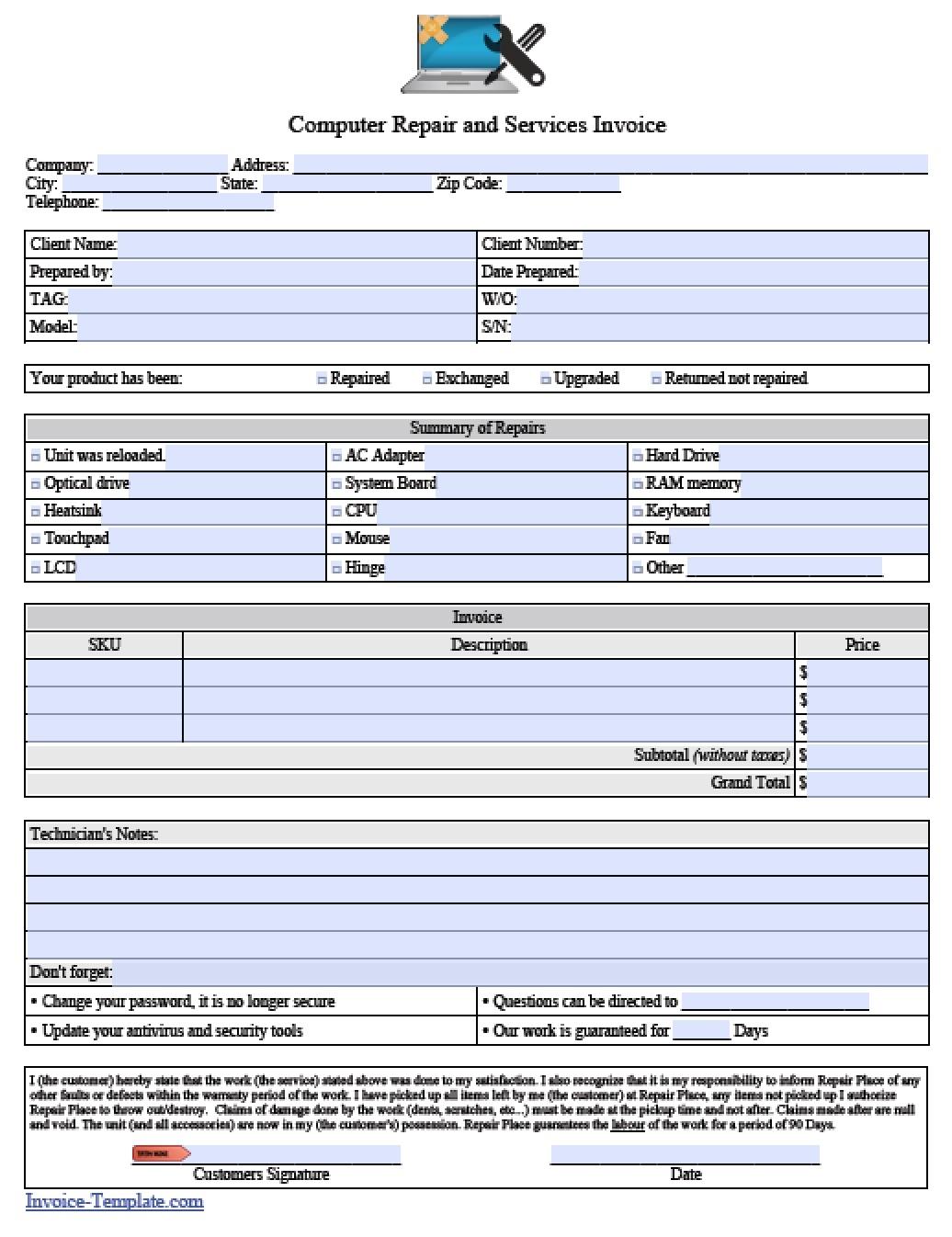 free computer repair service invoice template excel pdf word computer invoice template