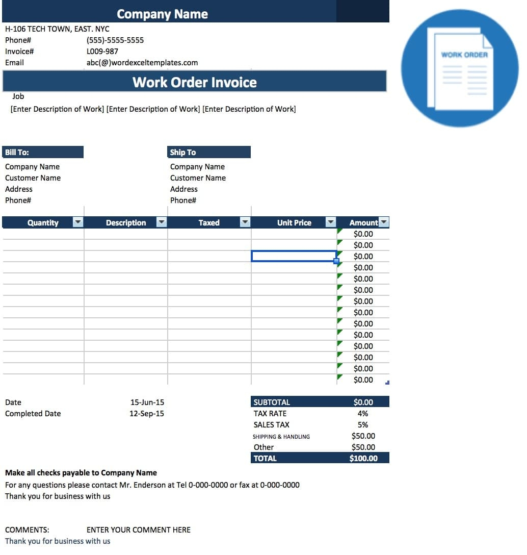 Order Invoice Template