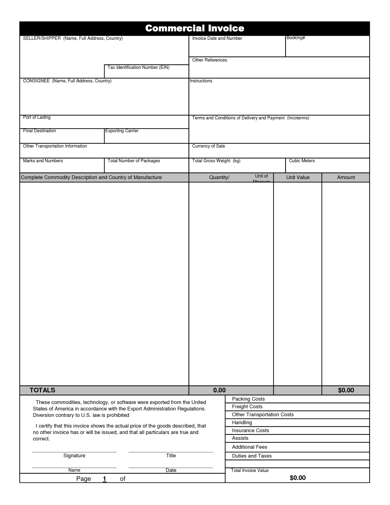 international commercial invoice template invoice example commercial invoice software