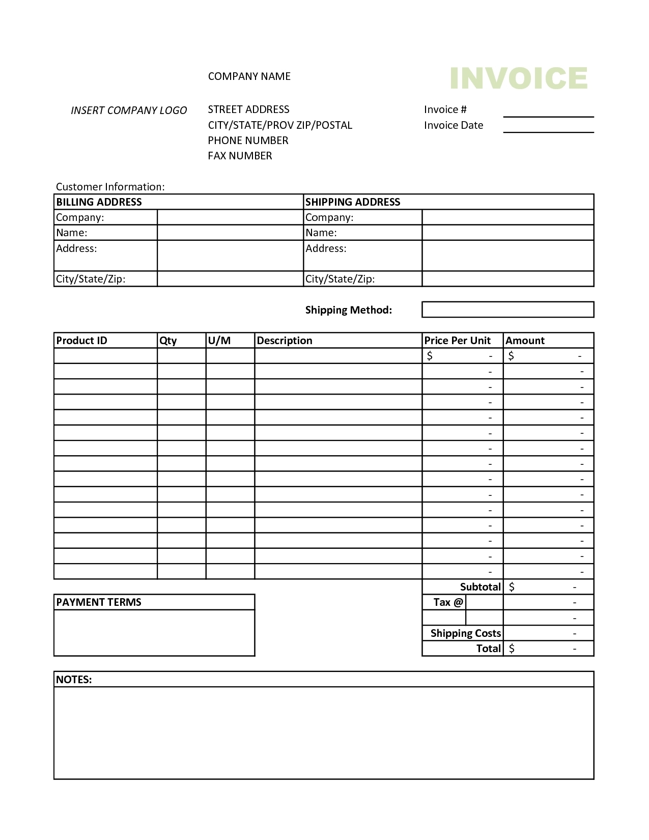 Excel 2010 Invoice Template