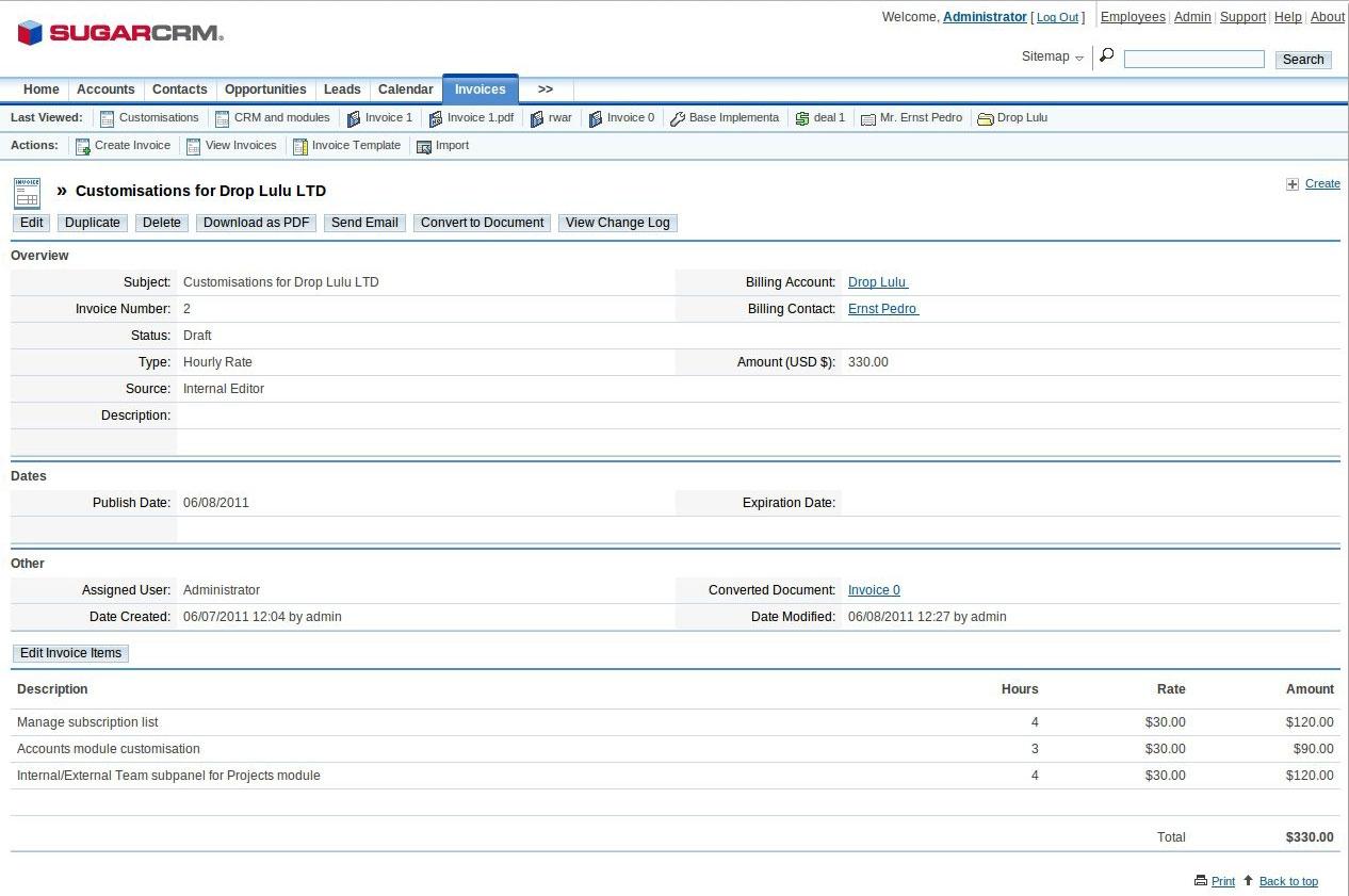 Sugarcrm Invoice Module
