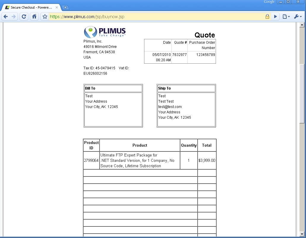 purchase order po for invoice