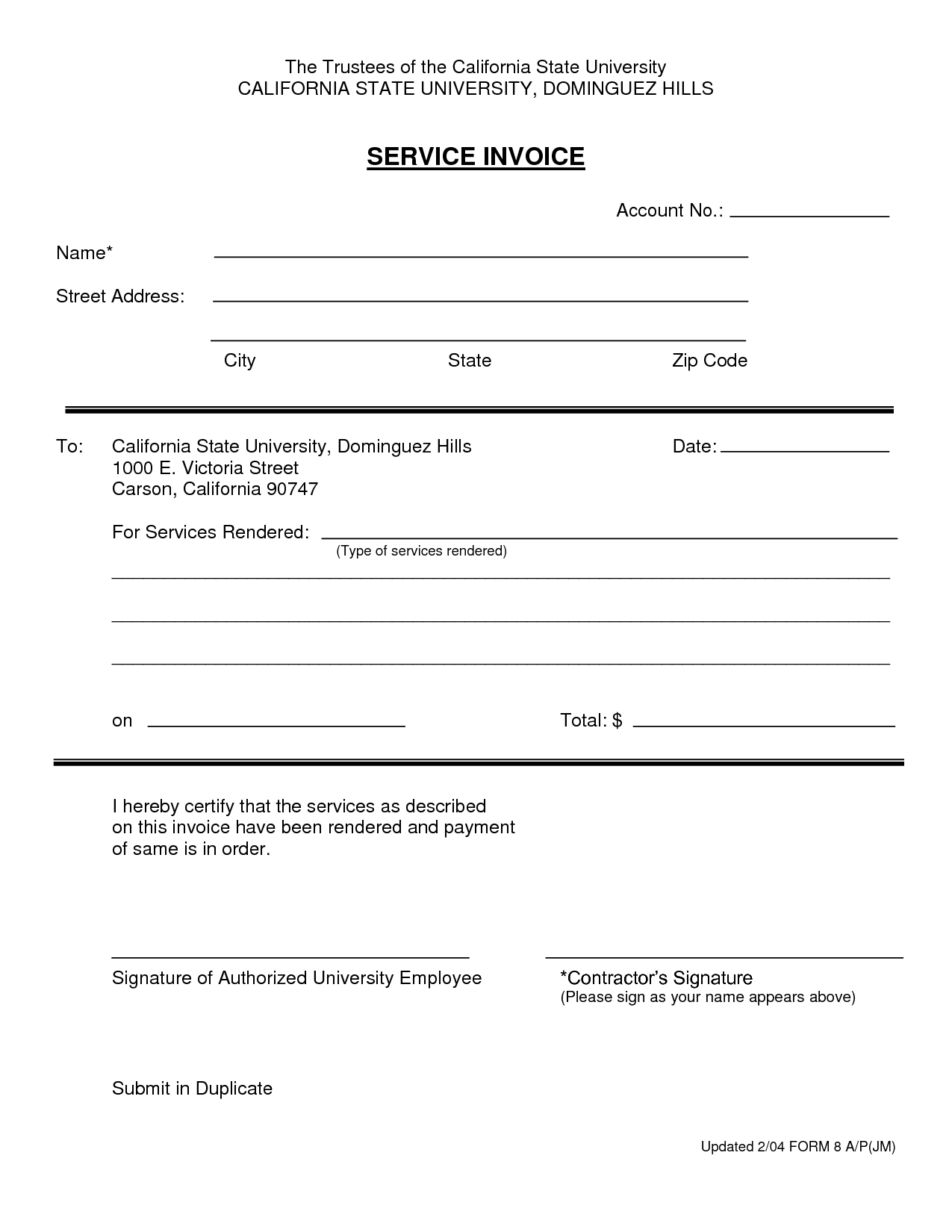 sample of invoices for services invoice template services rendered