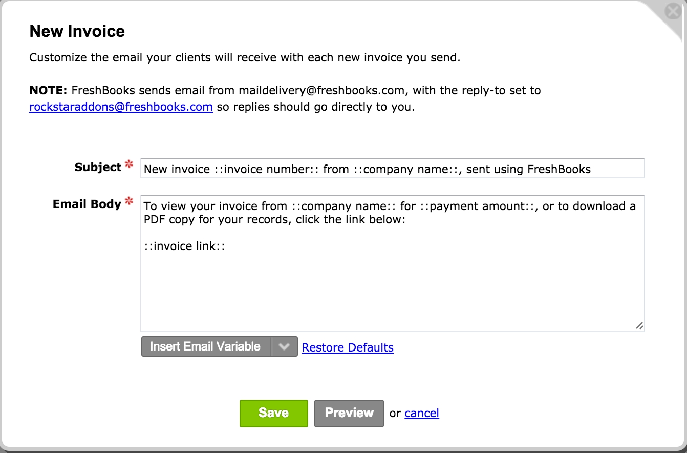settings emails freshbooks invoice email message