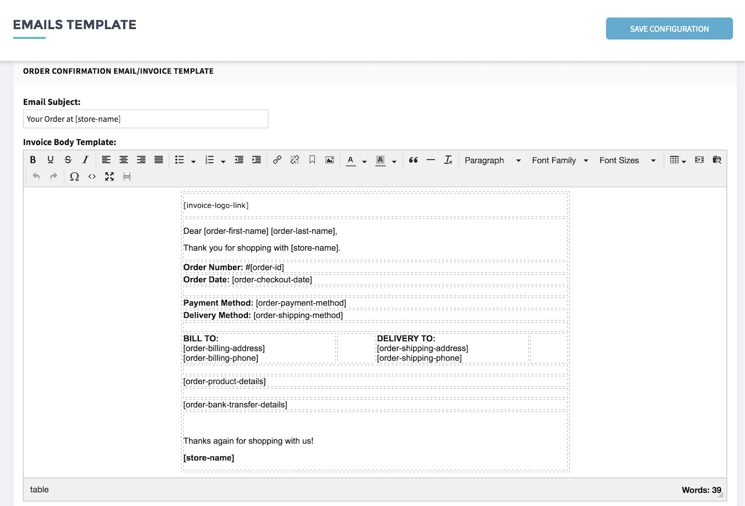 setup invoice and email template shopcada email template for invoice