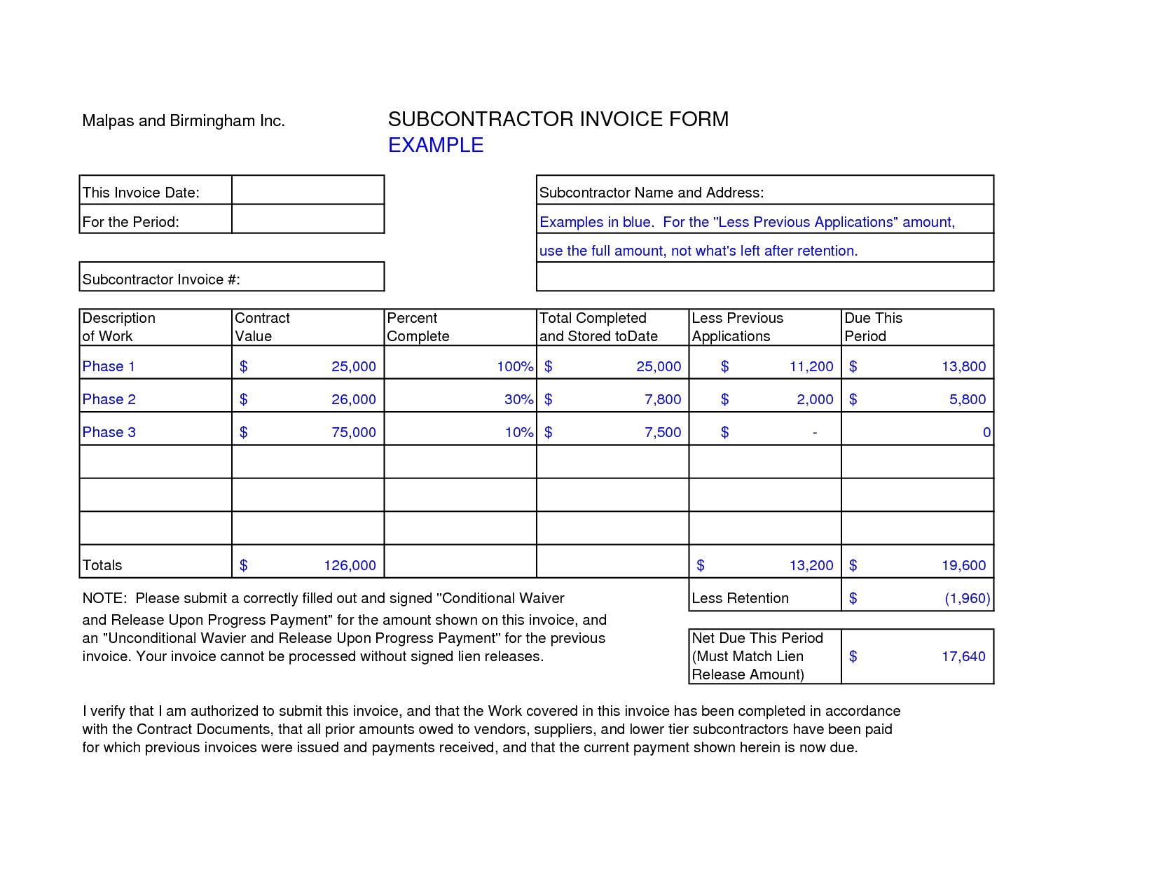 subcontractor invoice template excel invoice example subcontractor invoice template