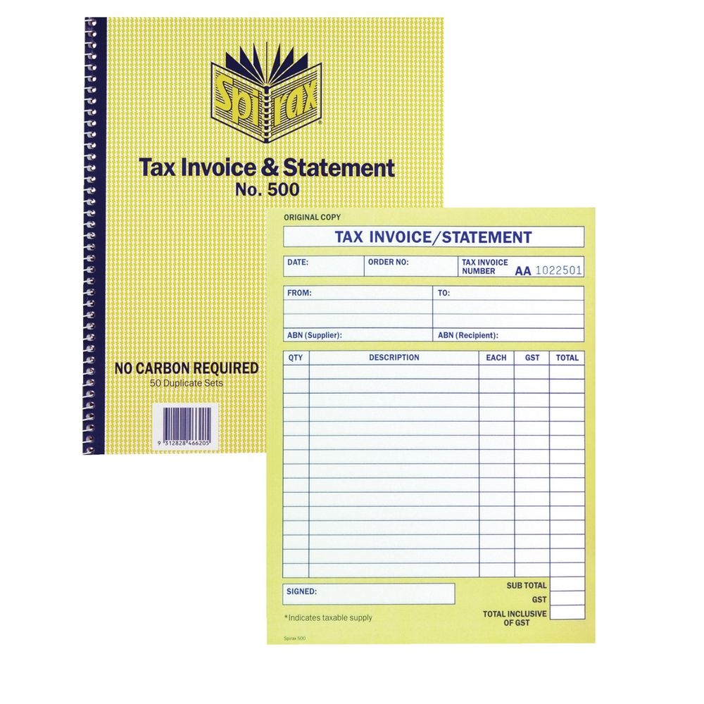 tax invoice book spirax tax invoice and statement book no500 officeworks 1000 X 1000