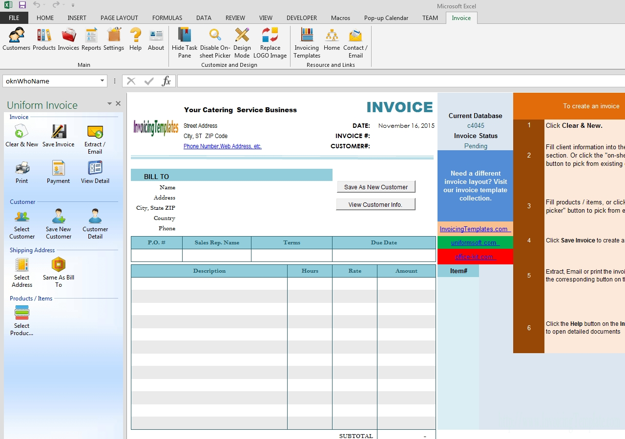 catering invoice template free catering invoice template