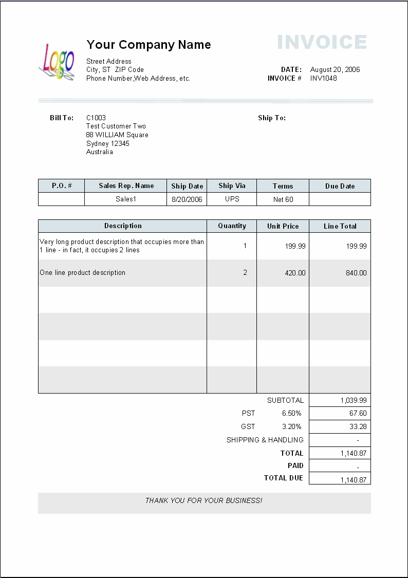 Word 2003 Invoice Template