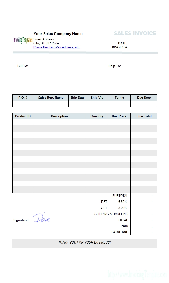 Free Invoice Template Microsoft Works