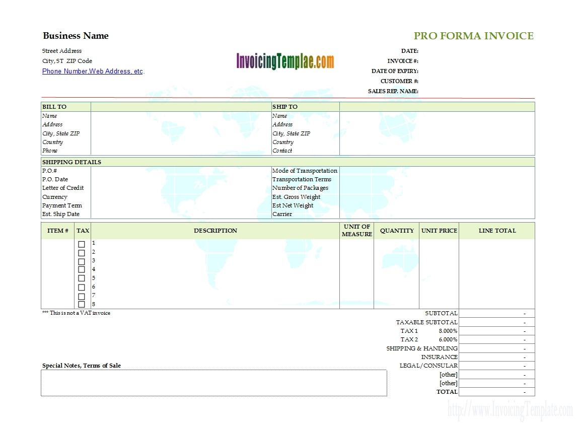 specimen of proforma invoice sample proforma invoice format download