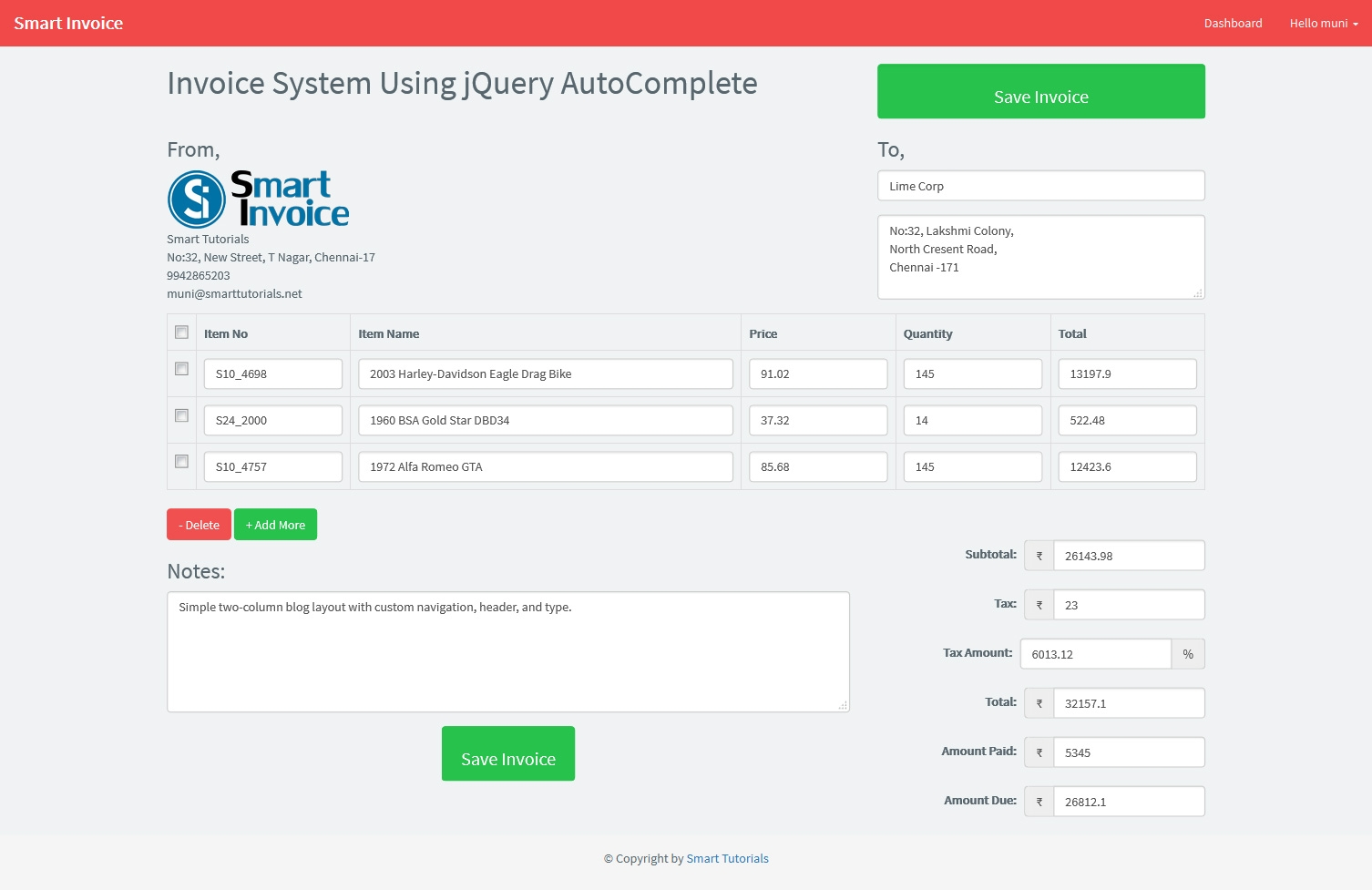invoice system using jquery php mysql and bootstrap free invoice system