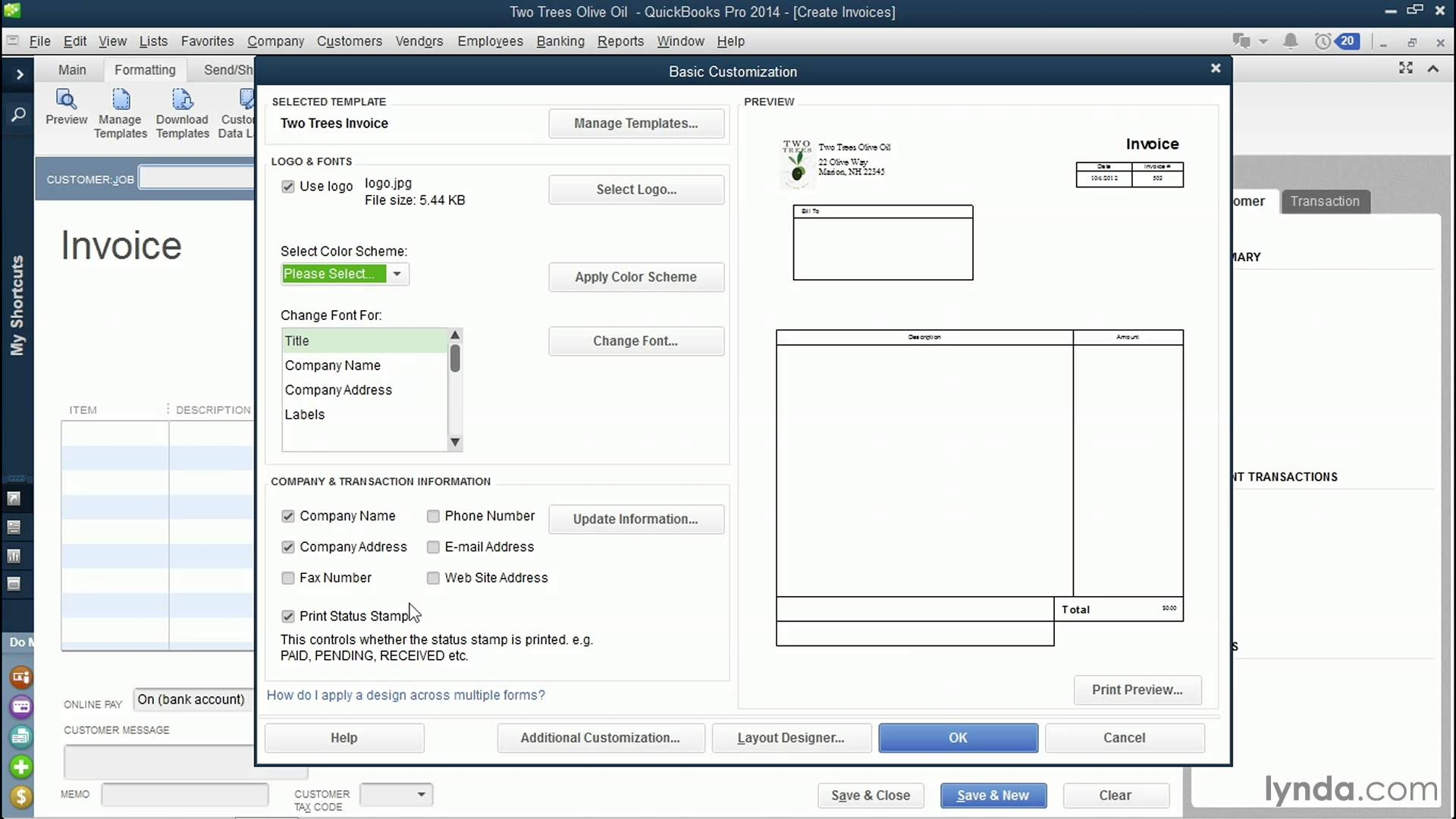 Customize Invoice Quickbooks