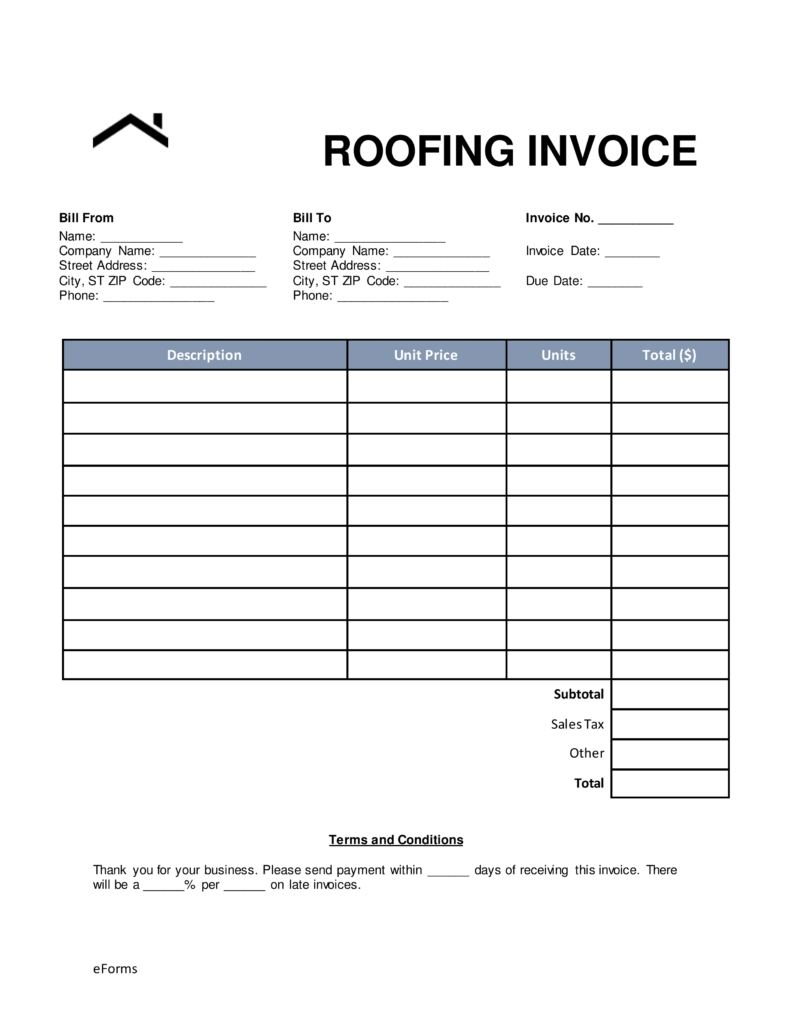 sample roofing invoice free roofing invoice template word pdf eforms free 791 X 1024
