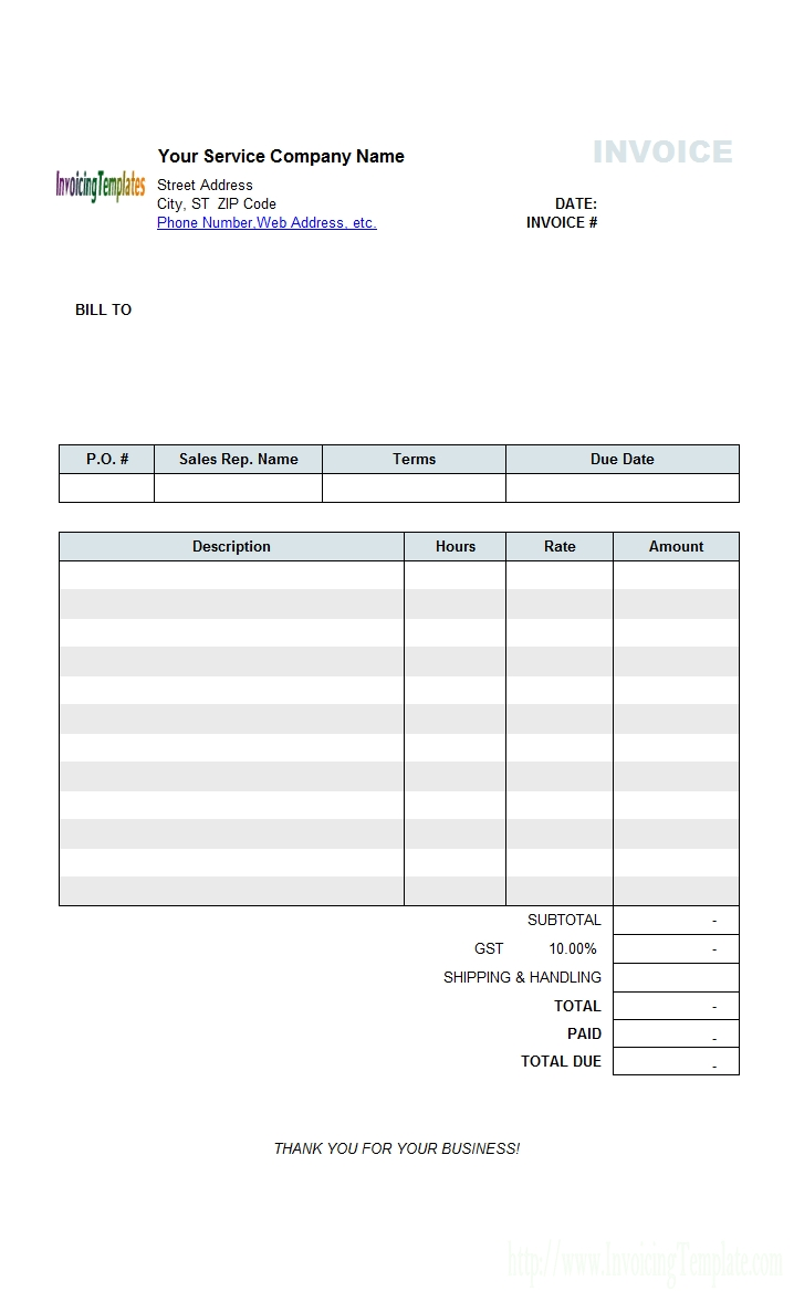 service invoice template service billing invoice template