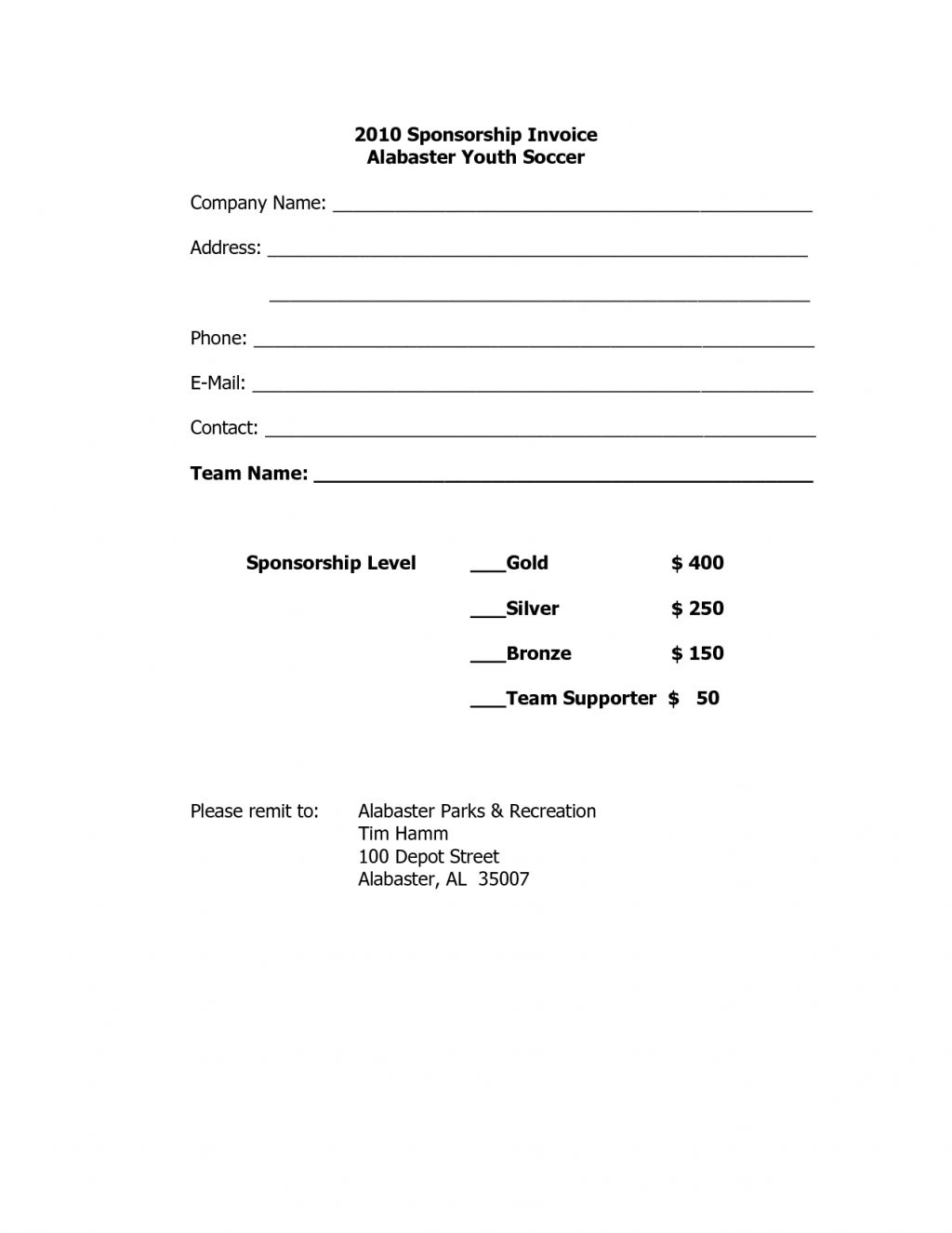sponsorship invoice template word templates free printable sponsorship invoice template