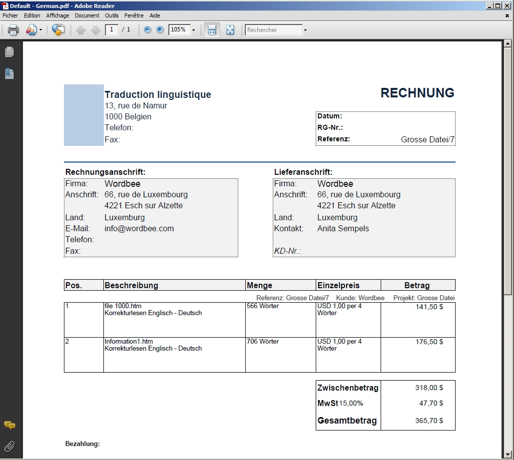 Translation Invoice Sample