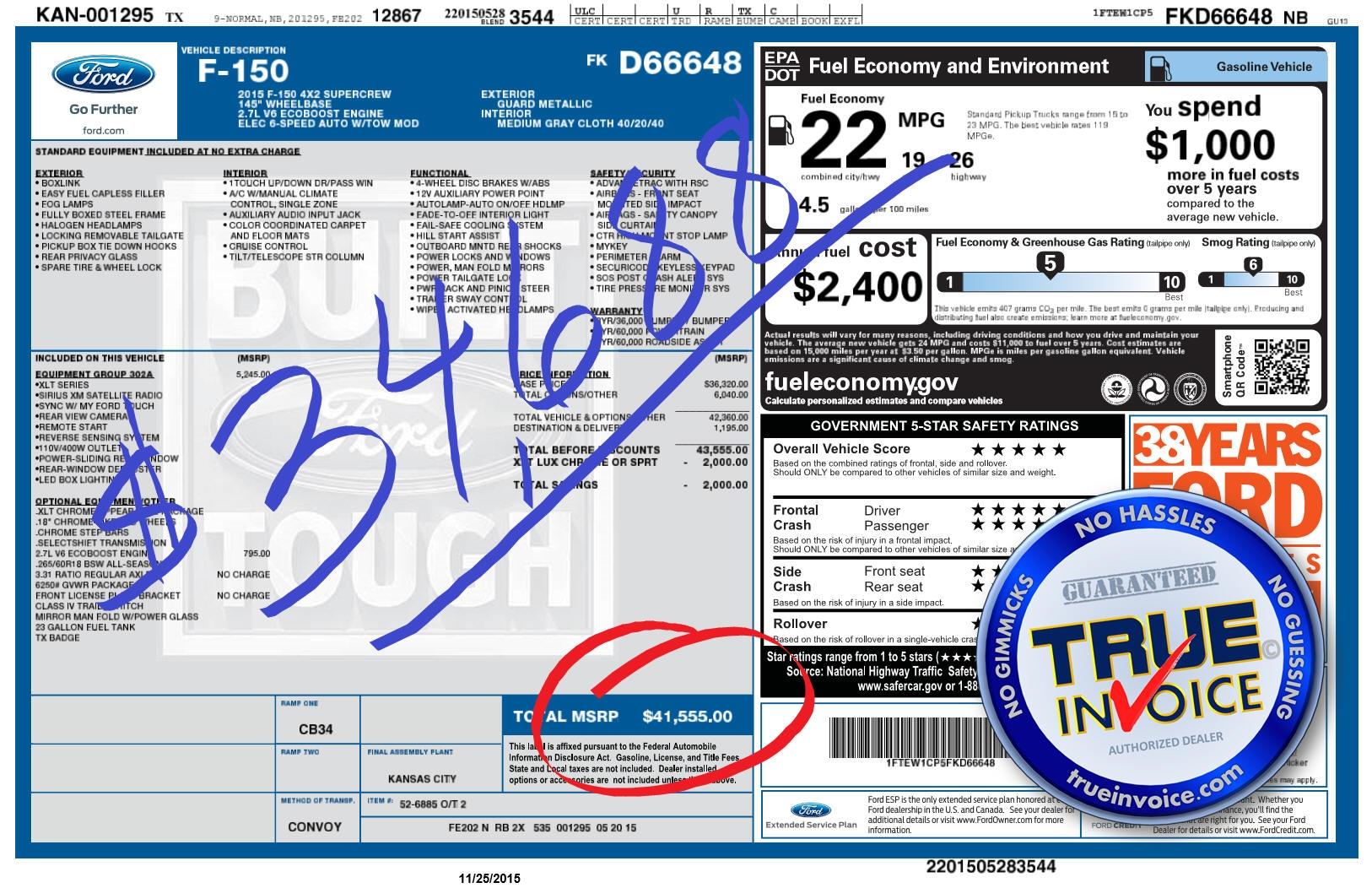 2015 F 150 Invoice