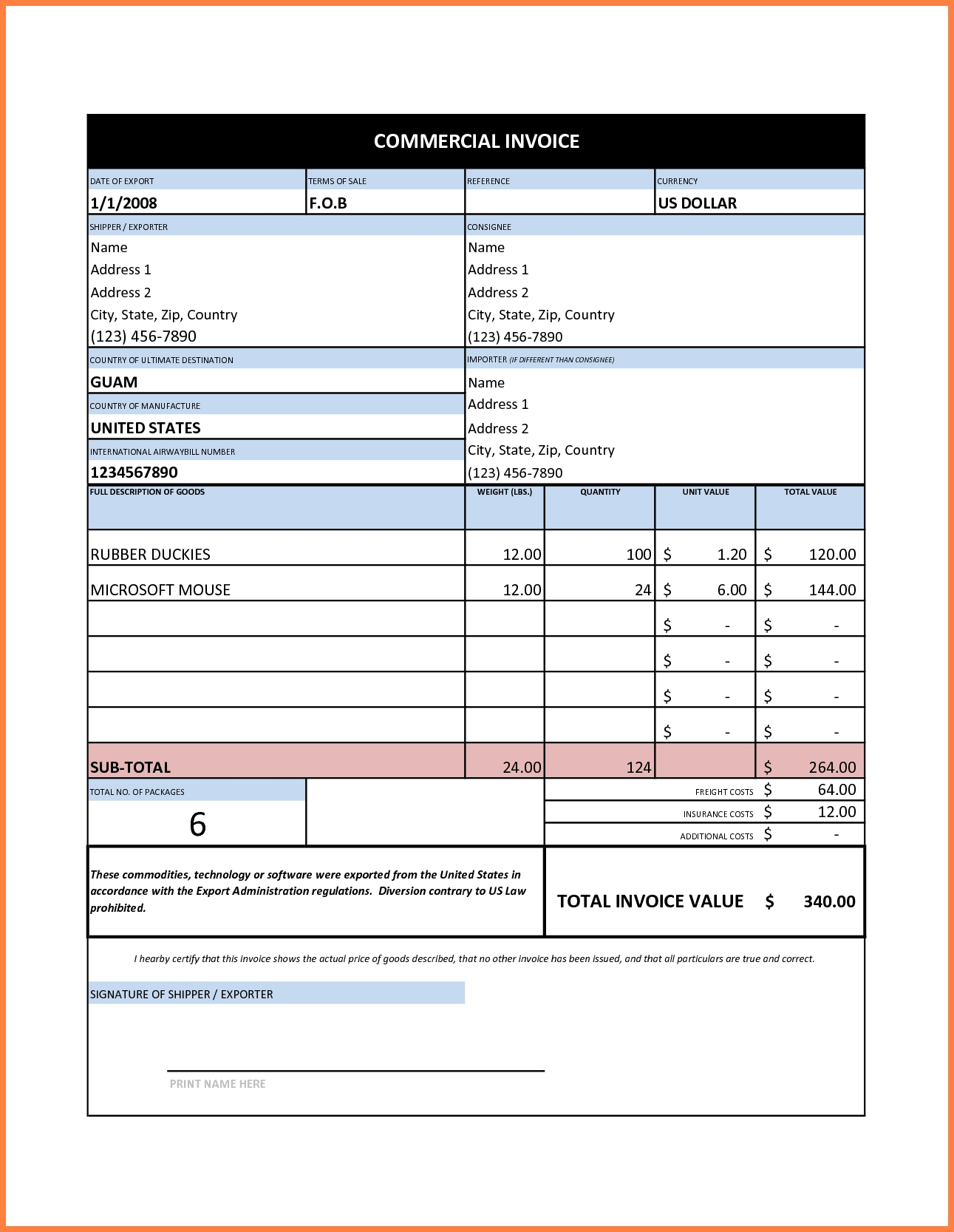 7 commercial invoice sample excel invoice template commercial invoice excel