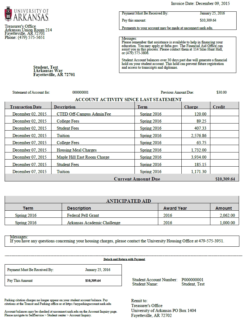 billing statements invoices and statements