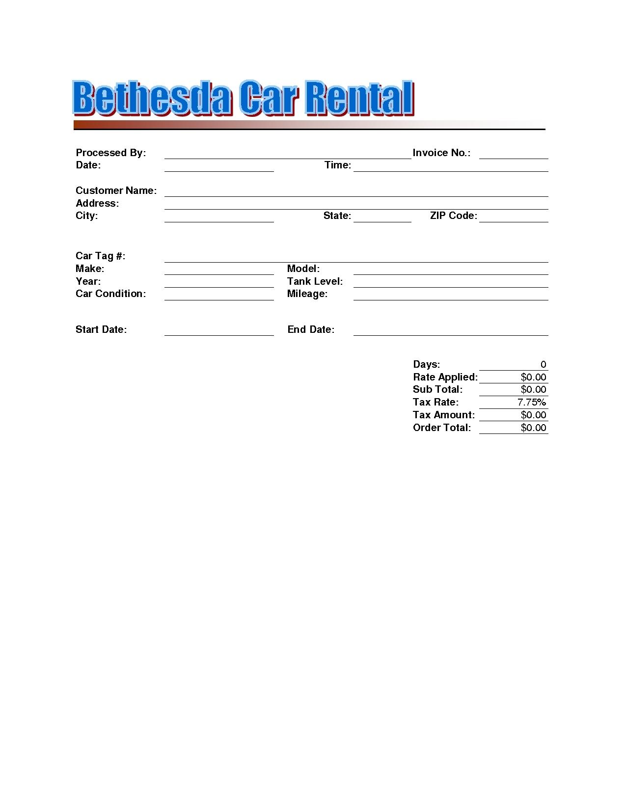 Rent A Car Invoice