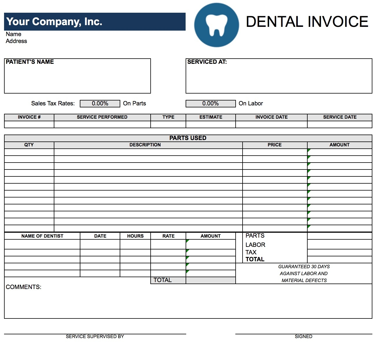 free dental invoice template excel pdf word doc tax invoice template word doc