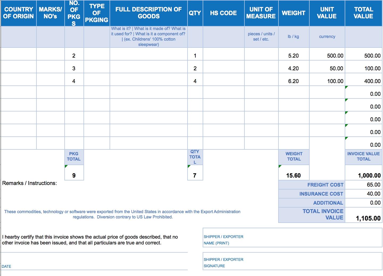 Excel Spreadsheet Invoice