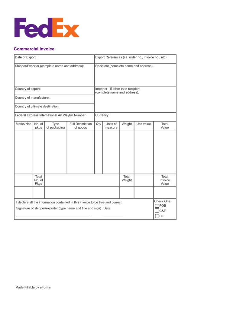 free fedex commercial invoice template pdf eforms free fob on an invoice