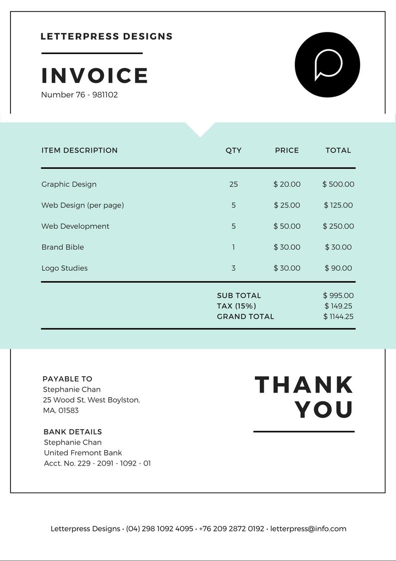 free online invoice maker design a custom invoice in canva free online invoice maker
