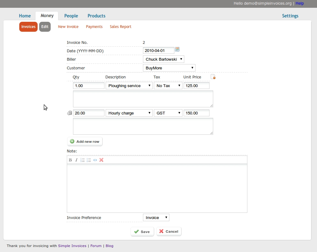 simple invoices full featured open source web based invoicing web based invoice