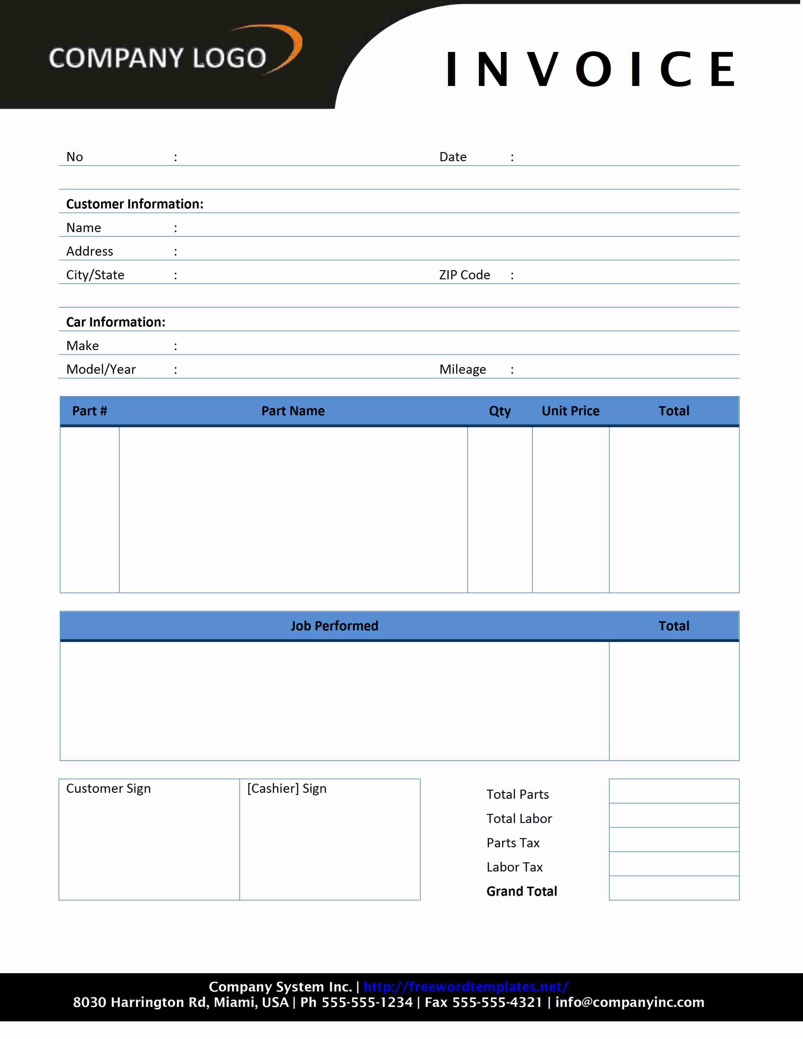 auto repair invoice freewordtemplates auto repair invoice template free