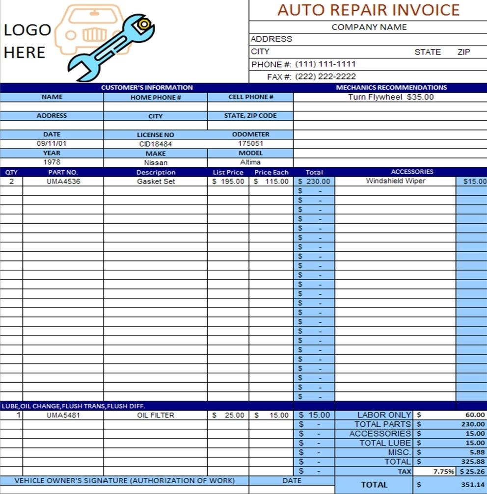 auto repair invoice template free robinhobbs auto repair invoice template free