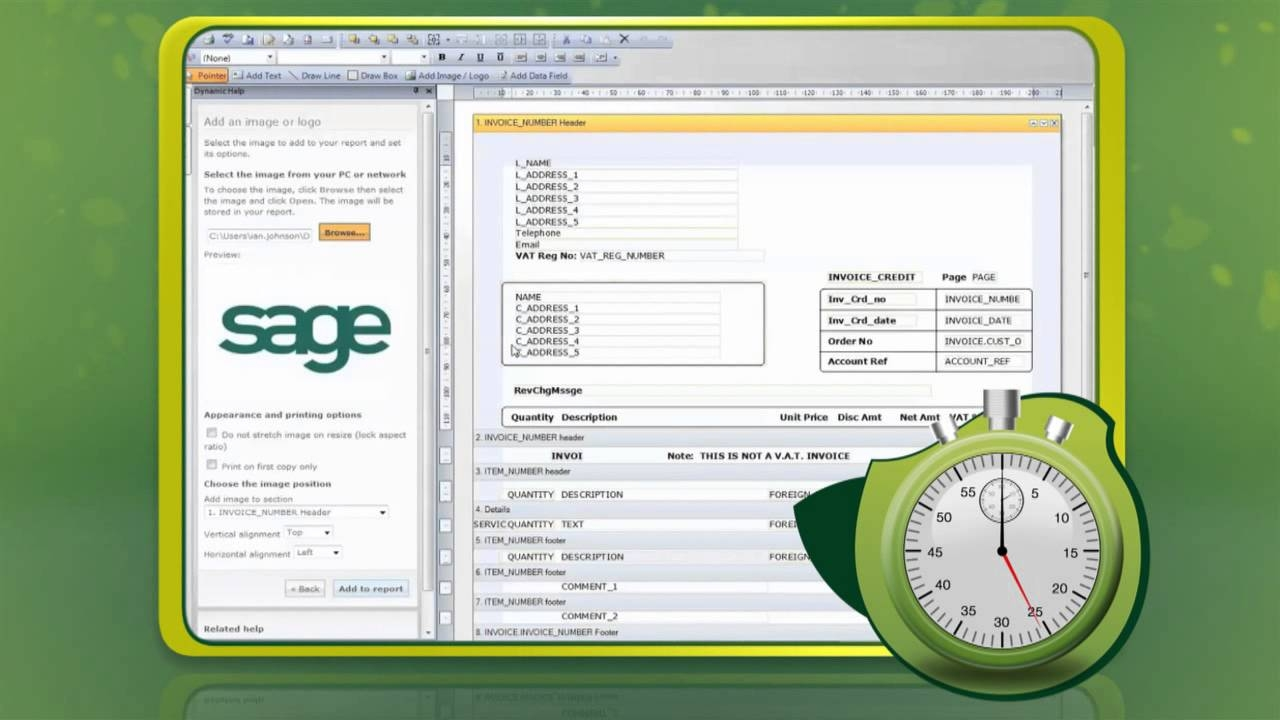 create a branded invoice in 60 seconds with sage instant accounts sage line 50 invoice template