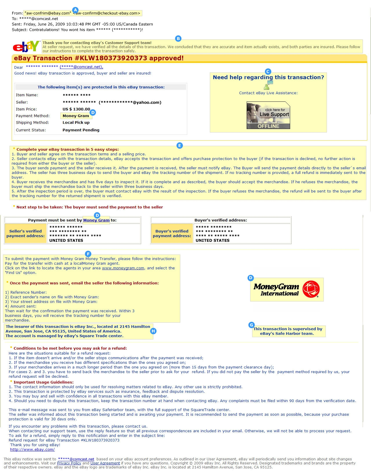 ebay motors security center ebay invoice scam