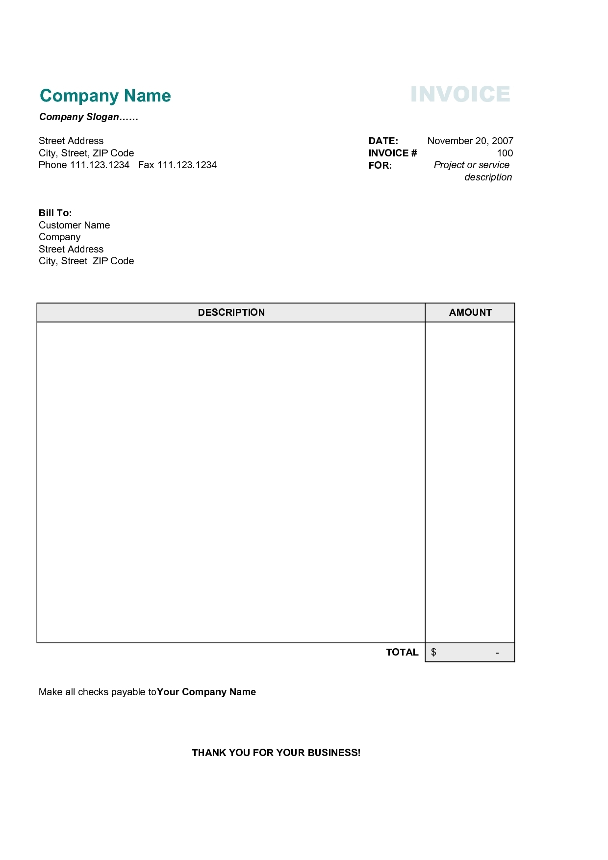 Free Business Invoice Forms