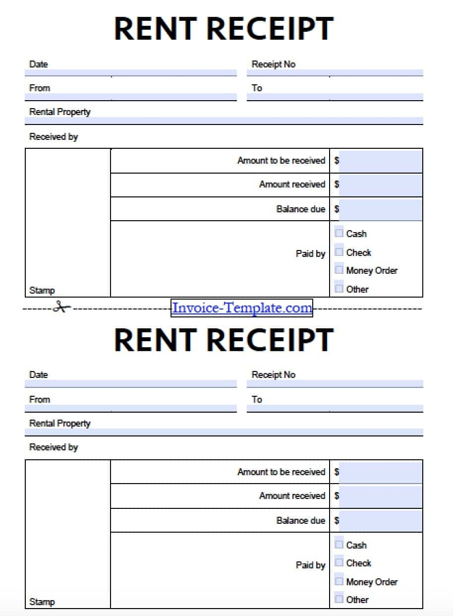 free monthly rent to landlord receipt template excel pdf sample rental invoice