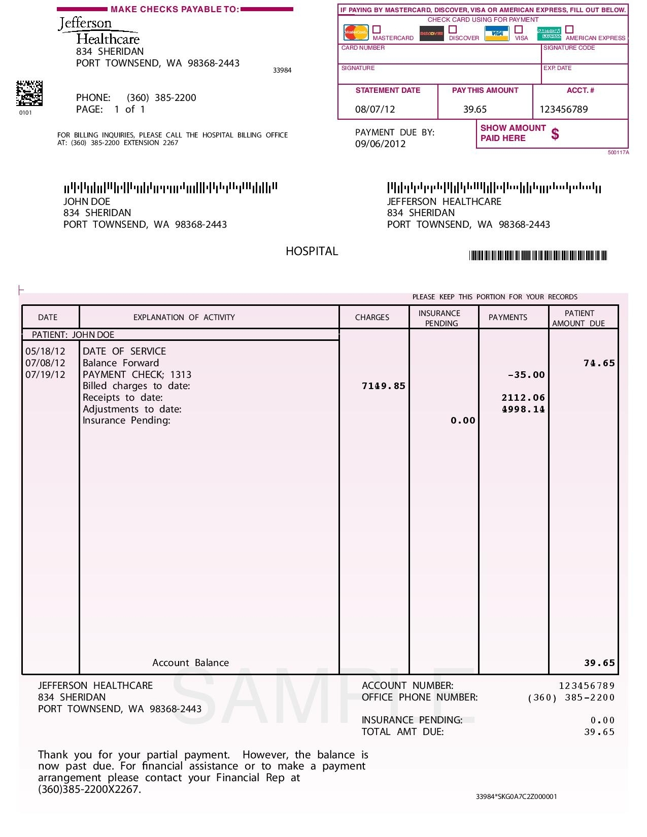 hospital invoice sample fake hospital bill template ipralatam 1275 X 1650