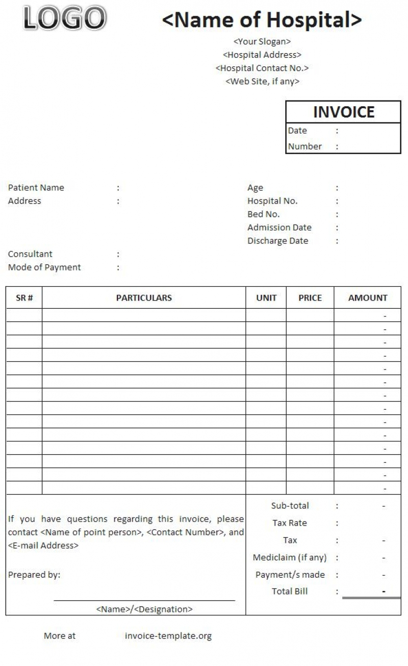 hospital invoice sample hospital invoice template sales associate resume samples 800 X 1305
