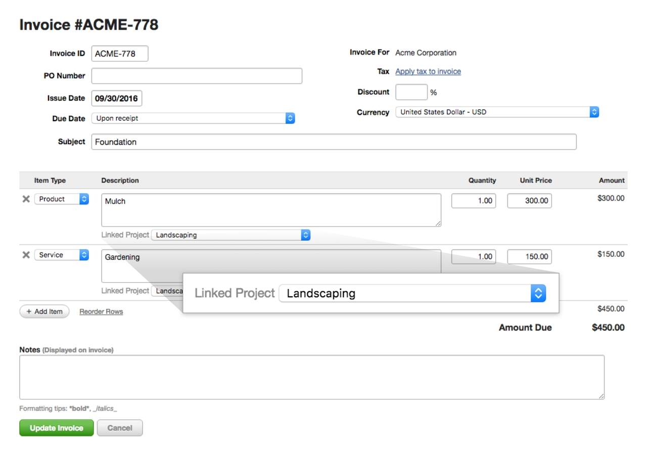 link your invoices to projects harvest invoice for you