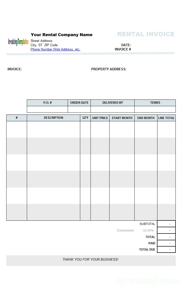 rental invoicing template sample rental invoice