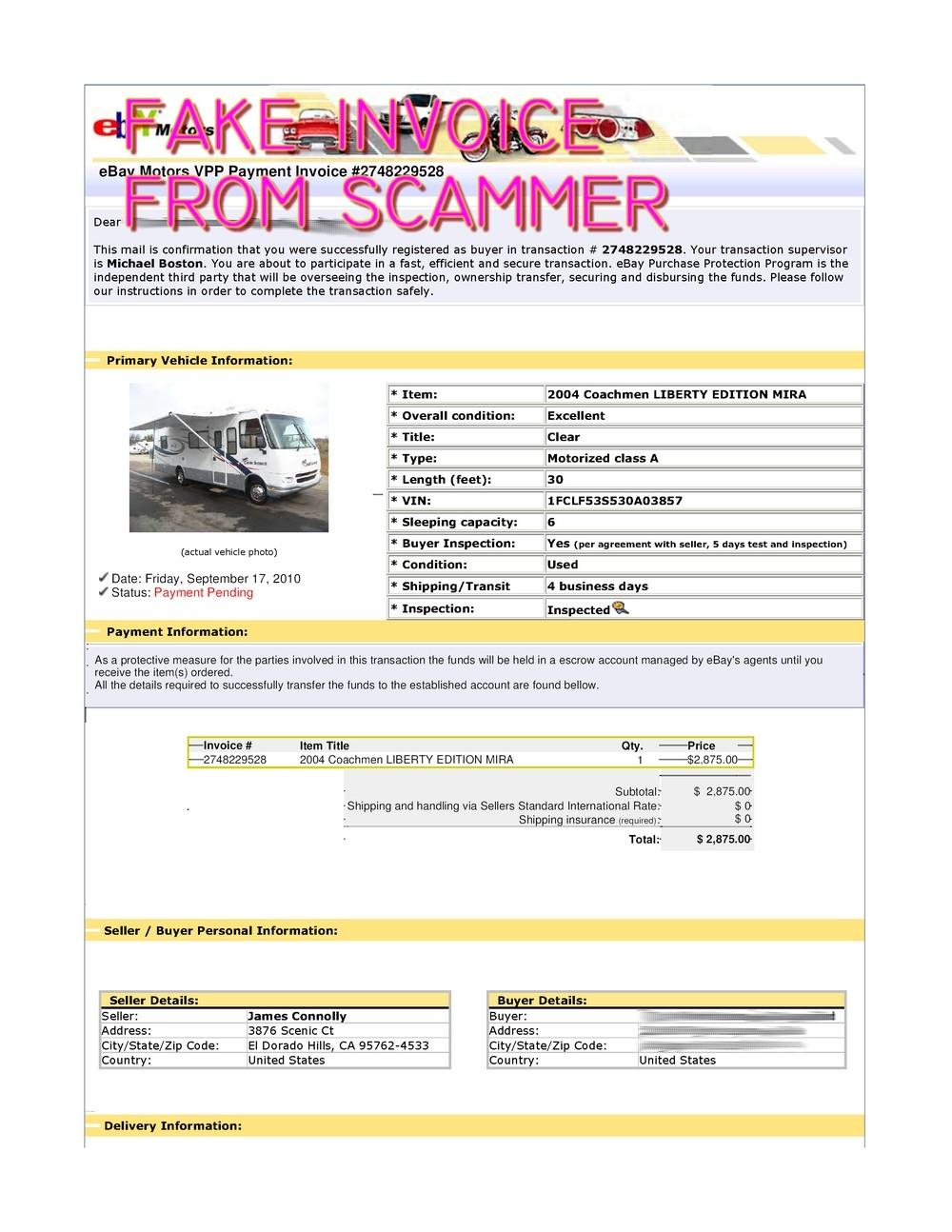 scam fake ebay transaction for 2004 coachmen liberty edition mira ebay invoice scam