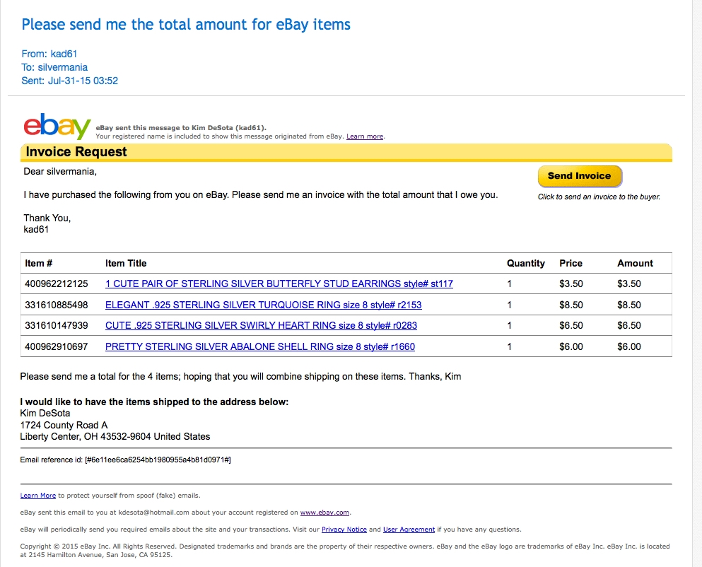 seller would not send invoice for multiple items the ebay send an invoice ebay